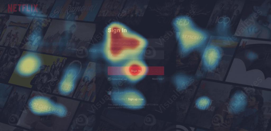 نقشه گرم صفحه ورود Netflix