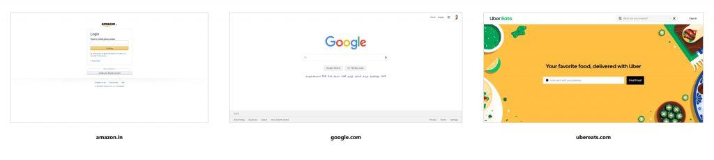 سایت های معروف مانند آمازون ، گوگل و ubereats با استفاده از فضای سفید به نفع خود برای وضوح و نرخ تبدیل بیشتر هستند.