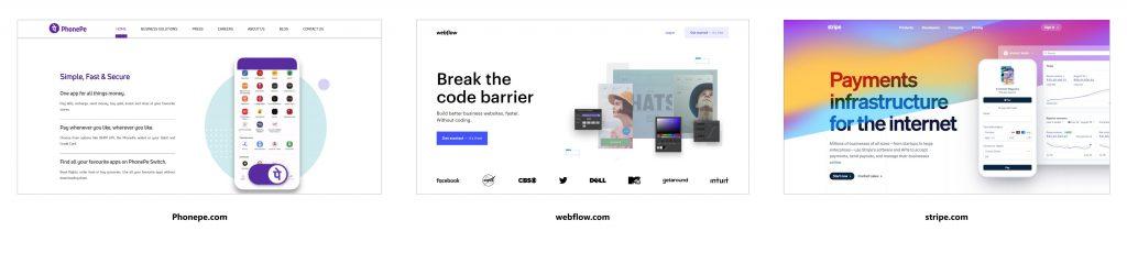 سایت های معروف مانندphonepe.com ، webflow.com و stripe.com با استفاده از تکنیک های همپوشانی در وب سایت خود.