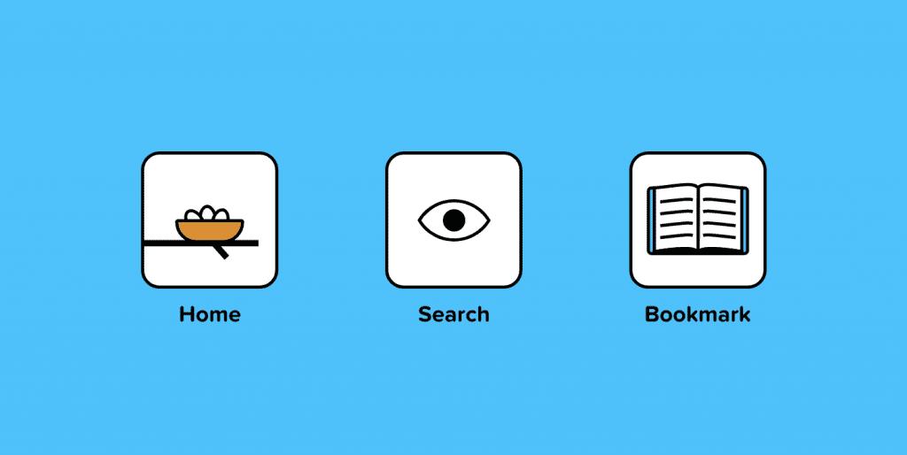 نمادهایی که نمایانگر خانه ، جستجو و نشانک هستند