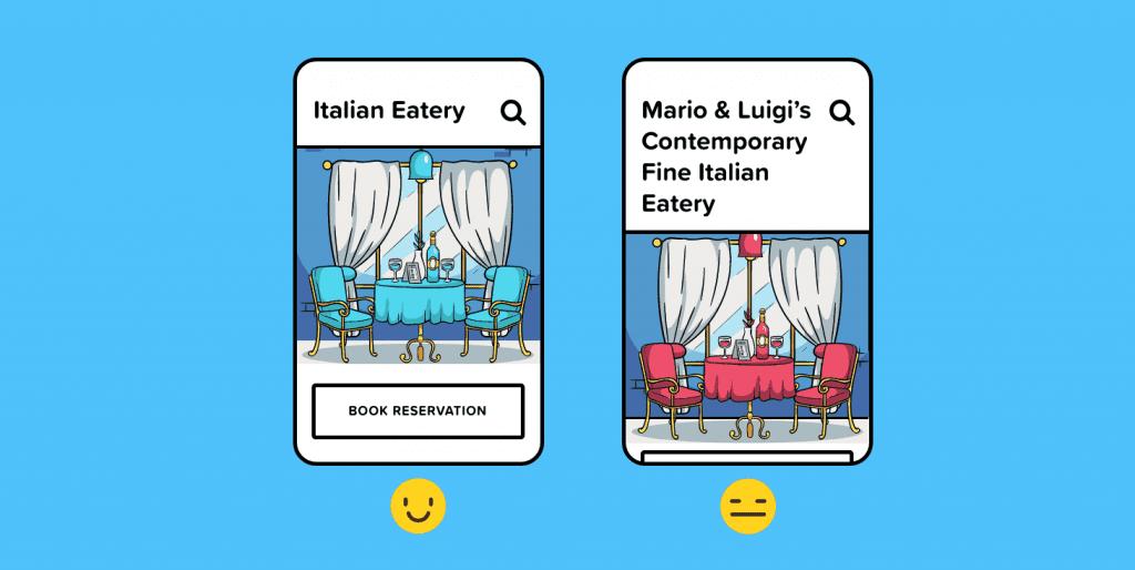رستورانی با نام بسیار طولانی در یک رابط نمایش داده می شود