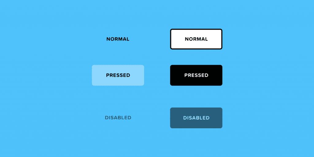 تمام حالت های طراحی برای یک دکمه